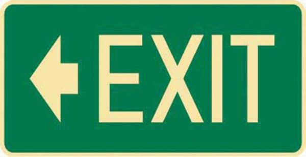 Sign - Poly Emergency 'Exit' Left Arrow 350mm x 180mm