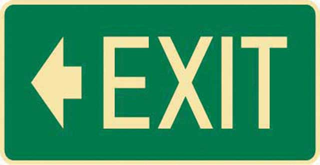 Sign - Poly 'Exit' Left Arrow 350 x 180