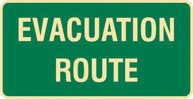 Sign - Poly Emergency 'Evacuation Route' 350mm x 180mm