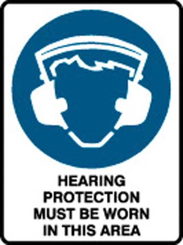Sign - Poly Mandatory 'Hearing Protection Must Be Worn In This Area' 450mm x 600mm
