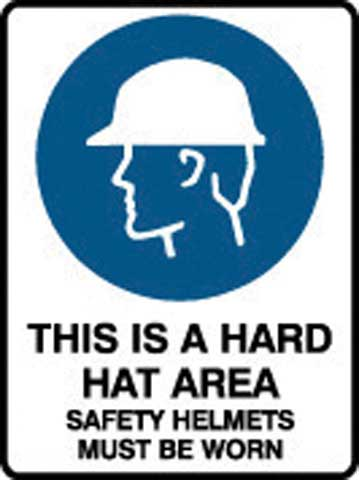 Sign - Poly Mandatory 'This Is A Hard Hat Area Safety Helmets Must Be Worn' 450mm x 600mm