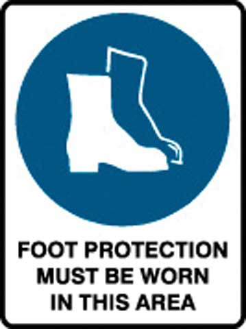 Sign - Poly 'Foot Protection Must Be Worn In This Area' 450 x 600