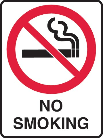 Sign - Poly Prohibition 'No Smoking' 450mm x 600mm