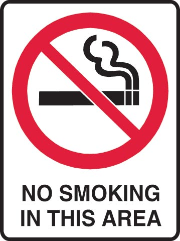 Sign - Poly Prohibition 'No Smoking In This Area' 450mm x 600mm
