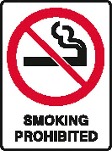 Sign - Poly 'Smoking Prohibited' 450 x 600