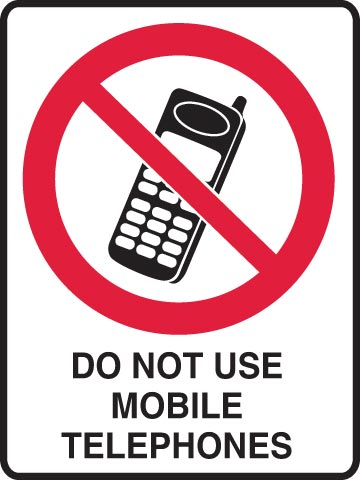 Sign - Poly Prohibition 'Do Not Use Mobile Phones' 450mm x 600mm