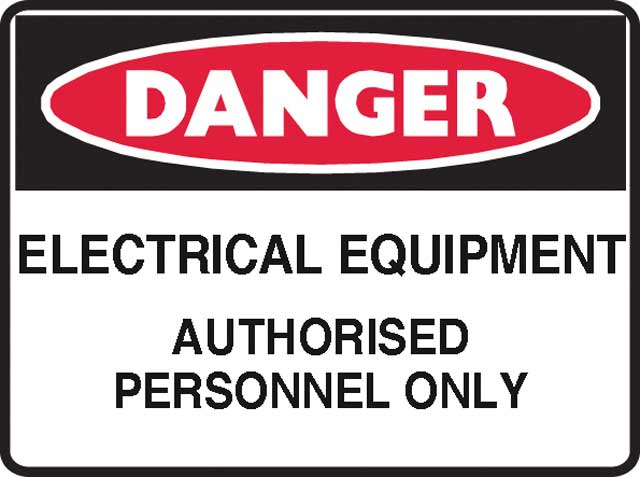 Sign - Poly Danger 'Electrical Equipment Auth. Personnel Only' 600 x 450