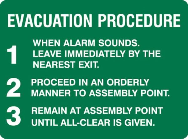 Sign - Poly 'Evacuation Procedure' 450mm x 300mm