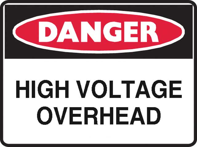 Sign - Poly Danger 'High Voltage Overhead' 600 x 450