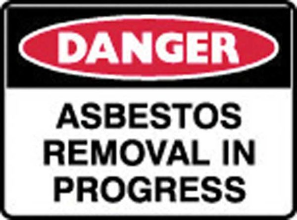 Sign - Poly Danger 'Asbestos Removal In Progress' 600mm x 450mm