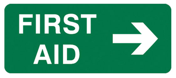 Sign - Poly 'First Aid' Right Arrow 300 x 125