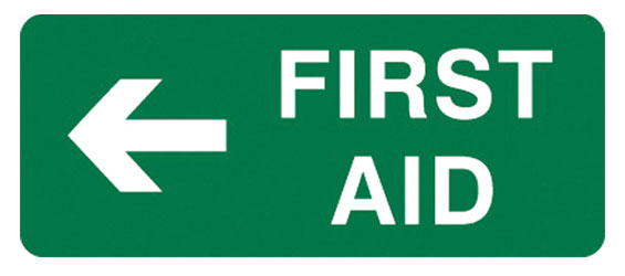 Sign - Poly 'First Aid' Left Arrow 300mm x 125mm