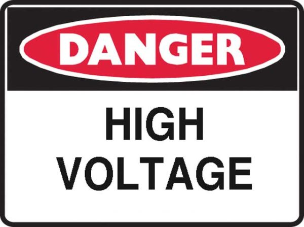 Sign - Poly Danger 'High Voltage' 600mm x 450mm
