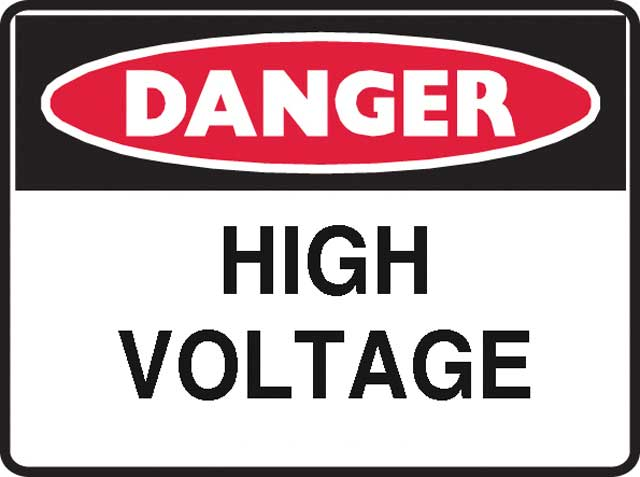 Sign - Poly Danger 'High Voltage' 600 x 450