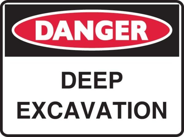Sign - Poly Danger 'Deep Excavation' 600mm x 450mm