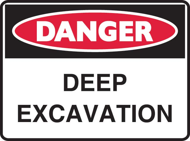 Sign - Poly Danger 'Deep Excavation' 600 x 450