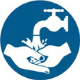 Sign - Vinyl SS 'Hand Wash' Pictogram 200mm Disc