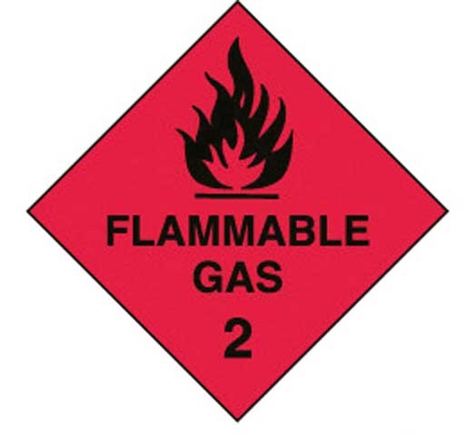 Placard - Vinyl SS Outdoor Dangerous Goods Diamond 'Flammable Gas 2' 250mm x 250mm