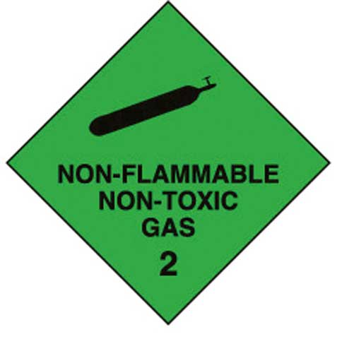 Placard - Vinyl SS Outdoor Dangerous Goods Diamond 'Non Flam/Toxic Gas 2' 250mm x 250mm