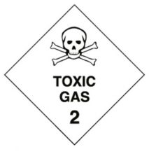 Placard - Vinyl SS Outdoor Dangerous Goods Diamond 'Toxic Gas 2' 250mm x 250mm