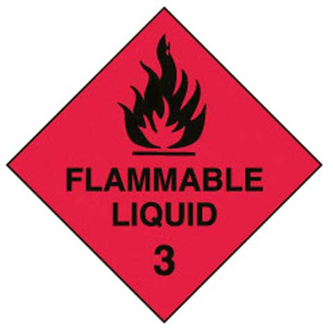 Placard - Vinyl SS Outdoor Dangerous Goods Diamond 'Flammable Liquid 3' 250mm x 250mm