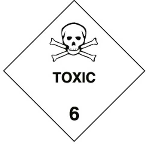 Placard - Vinyl SS Outdoor Dangerous Goods Diamond 'Toxic 6' 250mm x 250mm