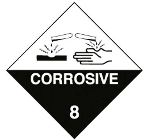 Placard - Vinyl SS Outdoor Dangerous Goods Diamond 'Corrosive 8' 250mm x 250mm