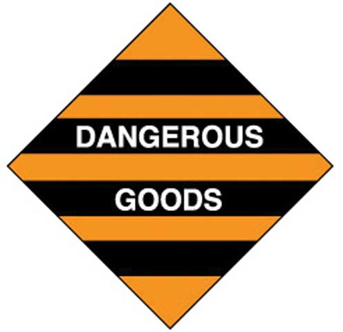 Placard - Vinyl SS Outdoor Dangerous Goods Diamond 'Dangerous Goods' (White) 250mm x 250mm