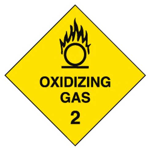 Placard - Vinyl SS Outdoor Dangerous Goods Diamond 'Oxidising Gas 2' 250mm x 250mm