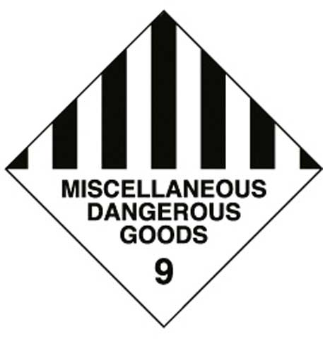 Placard - Vinyl SS Outdoor Dangerous Goods Diamond 'Misc. Dang. Goods' 250mm x 250mm