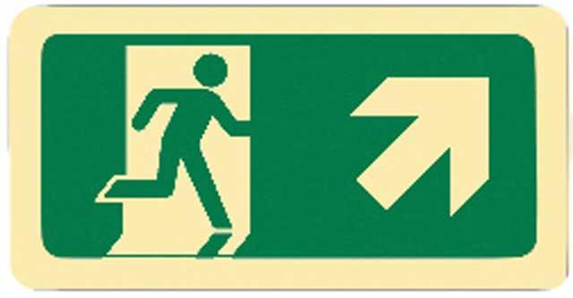 Sign - Vinyl SS Luminous Man Running 'Arrow Up Right' 450mm x 180mm