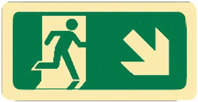 Sign - Vinyl SS Luminous Man Running 'Arrow Down Right' 450mm x 180mm