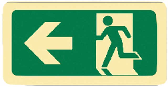 Sign - Vinyl SS Luminous Man Running 'Arrow Left' 450mm x 180mm