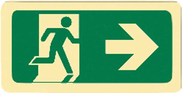 Sign - Vinyl SS Luminous Man Running 'Arrow Right' 450mm x 180mm