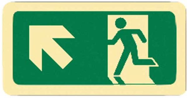 Sign - Vinyl SS Luminous Man Running 'Arrow Up Left' 450mm x 180mm