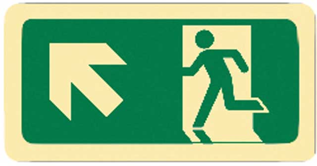 Sign - Vinyl SS Luminous Man Running 'Arrow Up Left' 450 x 180