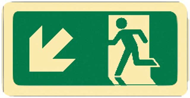 Sign - Vinyl SS Luminous Man Running 'Arrow Down Left' 450mm x 180mm