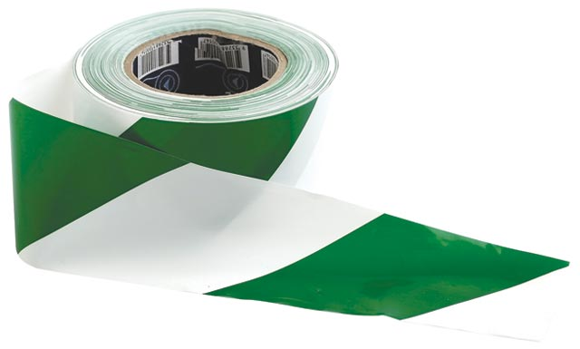 Tape - Barrier Hazard ProChoice 75mm x 100M  50 Micron Green/White Diagonal