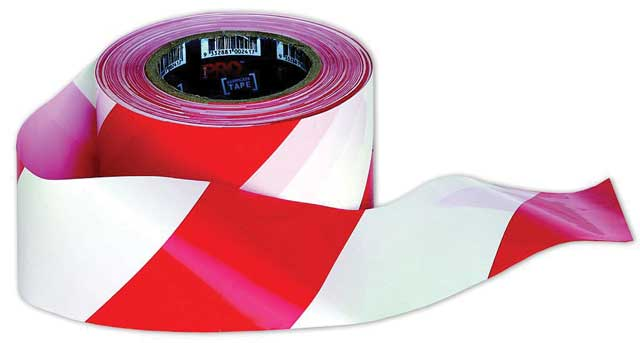 Tape - Barrier Hazard ProChoice 75mm x 100M  50 Micron Red/White Diagonal
