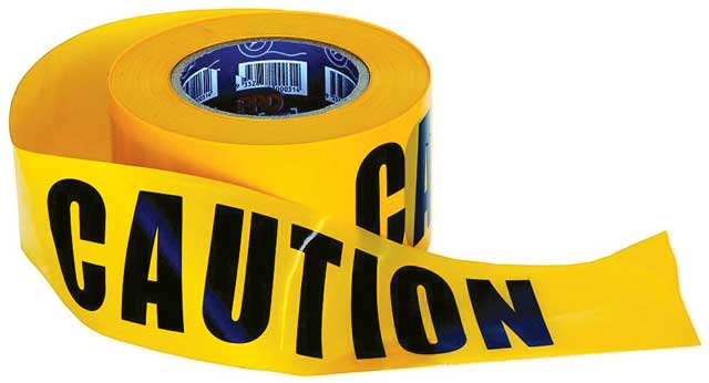Tape - Barrier Hazard ProChoice 75mm x 100M Yellow printed CAUTION