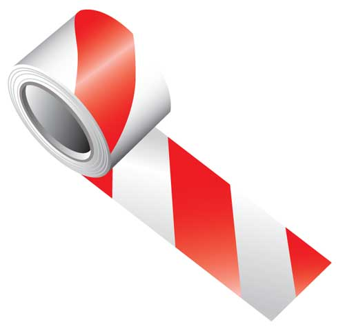 Tape - Vinyl Indoor Warning Non Reflective 75mm x 16.4M - Red/White Stripe