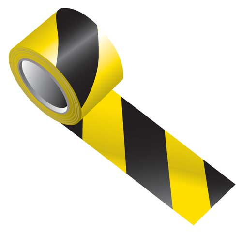 Tape - Vinyl Indoor Warning Non Reflective 75mm x 16.4M - Black/Yellow Stripe