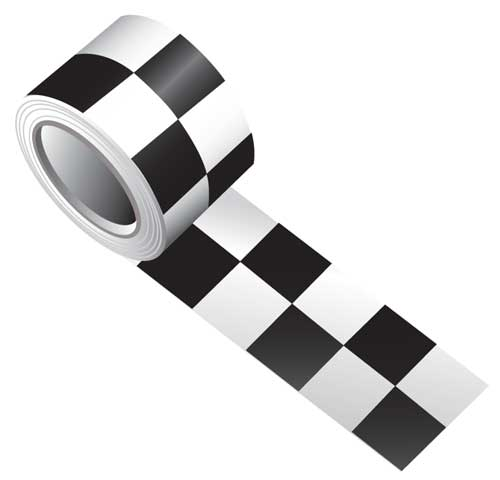 Tape - Vinyl Indoor Warning Non Reflective 75mm x 16.4M - Black/White Check