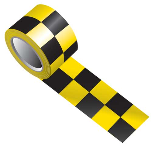 Tape - Vinyl Indoor Warning Non Reflective 75mm x 16.4M - Black/Yellow Check