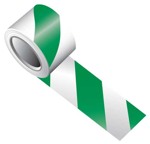 Tape - Vinyl Indoor Warning Non Reflective 75mm x 16.4M - Green/White Stripe