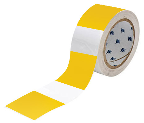 Tape - Polyester Indoor Floor Marking Toughstripe 51mm x 30M - Yellow Dash
