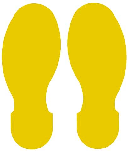 Tape Foot Prints - Polyester Indoor Floor Marking Toughstripe 254mm x 89mm 5 L/R - Yellow