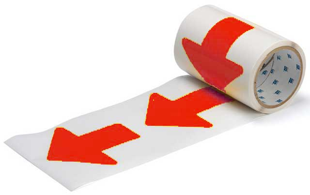 Tape Arrows - Polyester Indoor Floor Marking ToughStripe 76mm x 203mm - Red