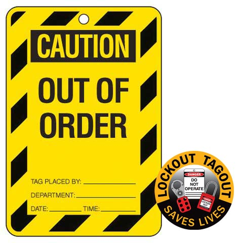 Lockout Tag - Poly Caution 'Out Of Order' Brady 842386 150mm x 100mm