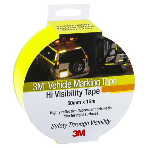 Tape - Vehicle 3M Diamond Grade Edge Sealed Retail Pack 50mm x 15M - Fluoro Yellow/Green 983-23